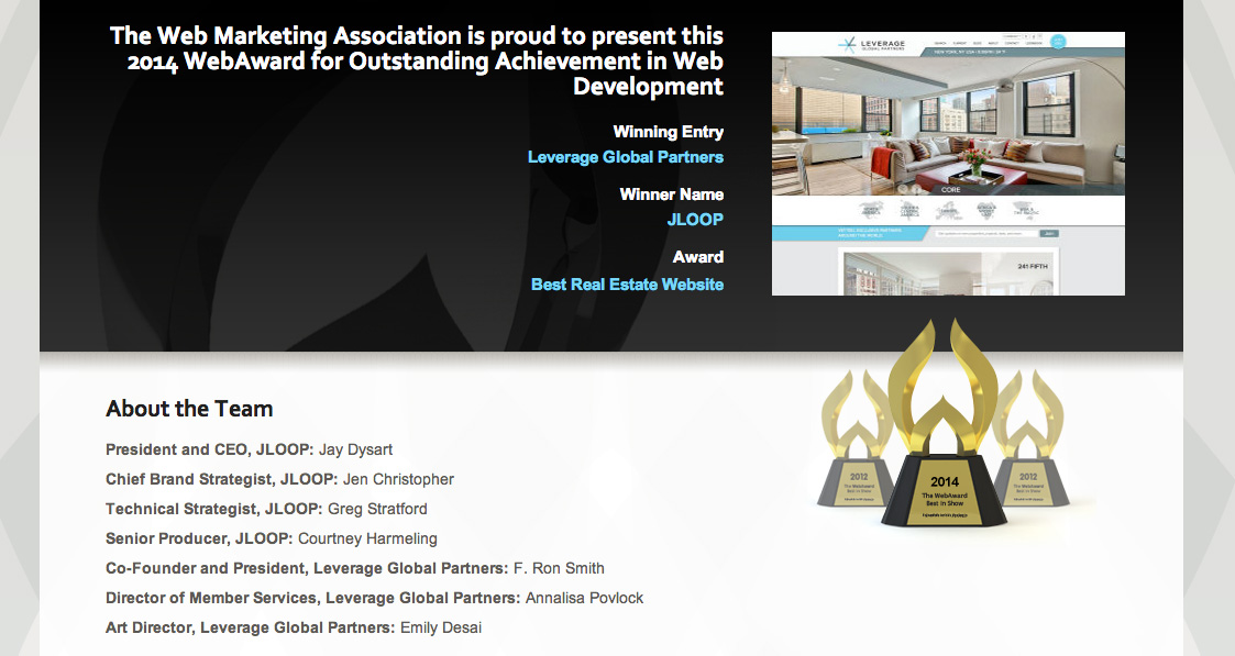 LeverageRE.com Honored for 2014 WebAward: Best Real Estate Website